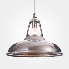 Aluminium Coolicon Pendant Light from Artifact Lighting | A classic factory style pendant with a polished aluminium finish that makes it the ultimate industrial light fitting, perfect for bars, restaurants and loft interiors.