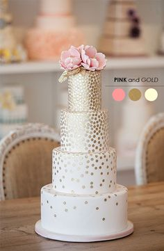 Pink and Gold Wedding Cake This matches our save the dates Metallic Wedding Cakes, Pretty Wedding Cakes, Sequin Wedding, Mod Wedding, Pretty Cakes, Cake Wedding, Metallic Cake, Elegant Wedding, Glitter Wedding