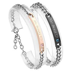 Jovivi Stainless Steel Couples Bracelets for Men Women Cubic Zirconia His & Hers Bracelet Matching Link Chain Wristband with Box,Valentine's Gift Jewelry for Lover Matching Couple Bracelets, Bracelets For Men, Things To Buy, Stuff To Buy, Valentine Box, Matching Set, Beauty And The Beast, Jewelry Gifts, Giveaway