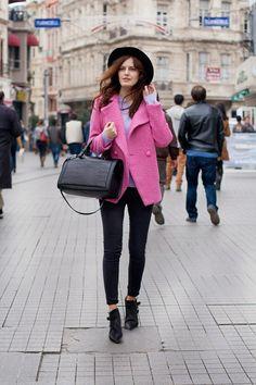 Love this pink coat.