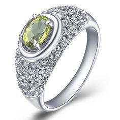 Natural semi- piedra preciosa verde accesorios anillo de peridoto piedra de nacimiento retro 925 de regalo de plata de ley sr0988p