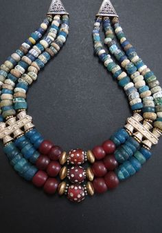 Rare Antique Djenne Glass and Trade Bead Necklace