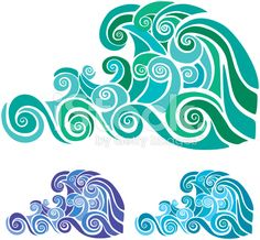 Stencil waves royalty-free stock vector art