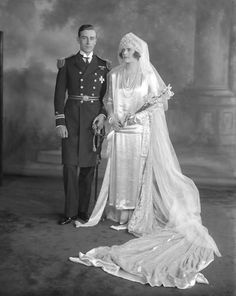 "Lord Louis Mountbatten and new bride Edwina Ashley, daughter of Wilfred Wm. Ashley, 1st Baron Mount Temple and favorite granddaughter and principal heir of German-born British magnate Sir Ernest Cassel. Lord Louis once admitted that he and Edwina spent ""all our married lives"" having affairs. Still, the couple had two daughters, both presumably fathered by Louis."