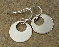 Contemporary Sterling Silver Earrings Modern Jewelry by organikx, $39.00