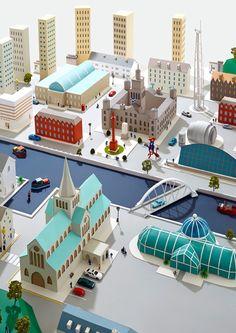 Paper Cities by Hattie Newman, via Behance