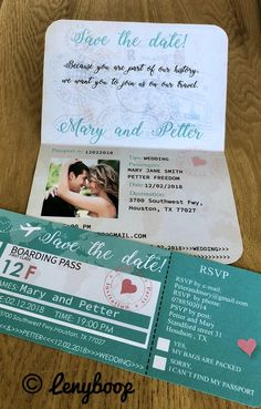 Passport wedding invitations with RSVP and Boarding pass.PDF | Etsy