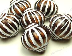 14mm Bronze and White Acrylic Fluted Round Beads by BlackrockBeads