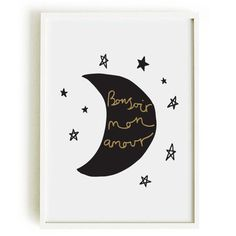 Valentine's French Love Print A4  home decor  moon by OldEnglishCo, £15.00