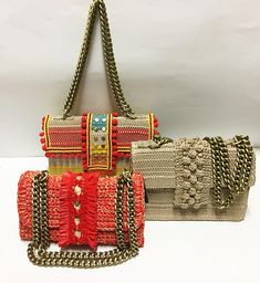 Fashion addiction 🖤💛❤️#unique #chic #fashionlover #fashionaddict #womenworld #handmadebag #greekdesigners #instyle #loveit Knitted Bags, Knitted Blankets, Granny Square Bag, Square Blanket, Diy Clutch, Macrame Bag, Crochet Handbags, Dolce & Gabbana, Cute Bags