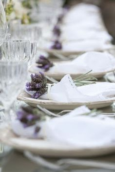 Table setting with little bunches of lavender.