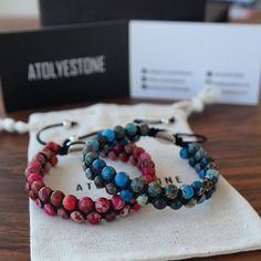 """""""#ATOLYESTONE Blue and Red Sea Sediment Imperial Jasper Double Bead String Bracelets ⠀⠀⠀⠀⠀⠀⠀⠀⠀ The unique and charming designs of @ATOLYESTONE bracelets…"""""""