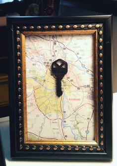 DIY framed key from first home #DIY #keyframe #keyart #mapart