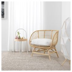 Every year, Ikea releases hundreds of new products from sofa beds to ceramics. Check out our favourite picks from the Ikea 2020 catalogue! Chaise Ikea, Rattan Armchair, Rattan Furniture, Handmade Furniture, White Armchair, Ikea Wicker Chair, Rattan Chairs, Lounge Chairs, Chair Cushions