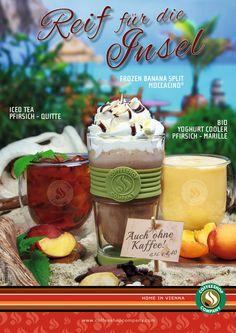 JETZT NEU! Bist auch du reif für die Insel? Dann komm zu uns, entflieh dem Alltag und genieße unsere erfrischenden Sommer-Newcomer: Iced Tea Pfirsich-Quitte, Frozen Banana Split Moccacino® und Yoghurt Cooler Pfirsich-Marille!