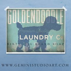 Goldendoodle laundry company laundry room artwork giclee archival signed artists print by stephen fowler geministudio Pick A Size on Etsy, $25.00