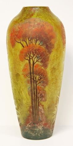 """Large, rare François Théodore Legras etched cameo glass vase, late 19th to early 20th century. H: 21 1/8"""" x D: 11""""  (53.6 x 27.9 cm) http://www.icollector.com/A-RARE-LEGRAS-FRANCE-ETCHED-CAMEO-GLASS-VASE_i13923854"""