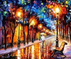 His paintings are often vividly-coloured landscapes, cityscapes and figures, and are typically painted using a palette knife and oil paint. Description from vintagecanvas.wordpress.com. I searched for this on bing.com/images