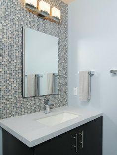 Mosaic Tile Bathroom Backsplash Design Wall Mirror Washstand....pretty for a small powder room wall.