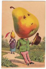 Vegetable / Fruit People Trade Card, Sacramento CA Nursery, Sad Pear Man