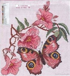 Solo Patrones Punto Cruz Pink Butterfly and Flower Counted Cross Stitch Patterns, Cross Stitch Designs, Cross Stitch Embroidery, Embroidery Patterns, Butterfly Cross Stitch, Cross Stitch Flowers, Cross Stitch Boards, Cross Stitch Animals, Le Point