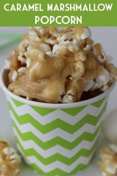 Caramel Marshmallow Popcorn Recipe :: Delicious and fun treat for the holidays or to give as gifts!
