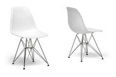 Baxton Studio Eiffel Chair White Plastic with Chrome Metal Base