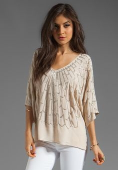 love the embellished pattern on this - inspiring for a refashion TOLANI Diana Embellished Blouse