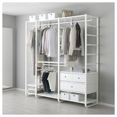 IKEA - ELVARLI, 3 sections, You can always adapt or complete this open storage solution as needed. Maybe the combination we've suggested is perfect for you, or you can easily create your own.Adjustable shelves and clothes rails make it easy for you to customize the space according to your needs.You can combine open and closed storage - shelves for your favorite things and drawers for the things you want to store away.Drawers with integrated dampers close slowly, silently and softly.