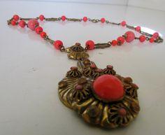Vintage Egyptian Style Necklace Brass with by nanascottagehouse