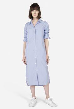d8e4f94a0aa The Striped Cotton Poplin Shirt Dress - White   Blue Stripe