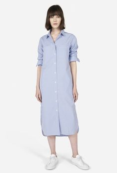 The Striped Cotton Poplin Shirt Dress