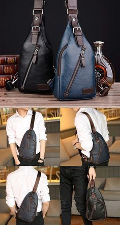 $19.27 Men PU Leather Retro Portable Leisure Shoulder Bag Chest Bag Crossbody Bag