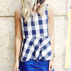 Checked Poplin Peplum Top #Anthropologie #MyAnthroPhoto