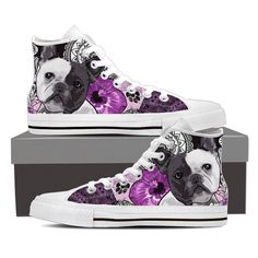 Lace-up for snug fit with metal eyelets for a classic look. Classic Looks, Snug Fit, Converse Chuck Taylor, French Bulldog, High Tops, High Top Sneakers, Lace Up, Shoes, Custom Products
