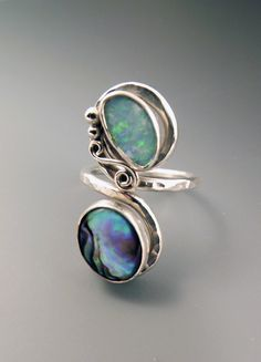 Opal and Abalone Calming Waters Adjustable Size Ring