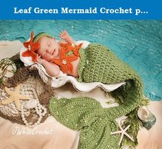 Leaf Green Mermaid Crochet photo prop set, Newborn to teen,Photography Outfit, Handmaid Boutique, mermaid Costume. This is Mermaid Crochet set in leaf green color with tangerine color star headband with rhinestones and pearls on central of the star, headband is adjustable, also with star on bras . The tail is cocoon style ,decorate with pearls Great for photo prop The mermaid set in the picture is size 1 month !!!!! Please measure your baby from waist to foot and around waist, that will…