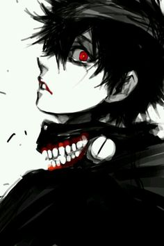 Kaneki Ken   Black hair   Anime   Boy   Tokyo Ghoul   Blood   Cute   Dark   Mask