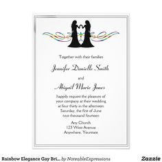 This fun design is called Rainbow Elegance Brides #Gay #Wedding. The background is a bright white with a thin black border. Centered at the top is a pretty rainbow colored scroll design with two bride silhouettes.