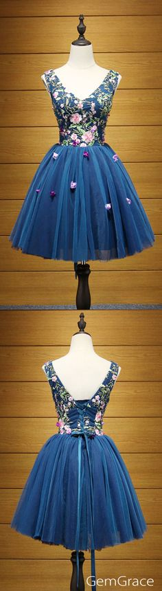 Floral and navy blue short tulle prom dress