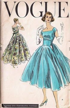 1950s Beautiful Cocktail Dress  Evening Gown Pattern Vogue 8991 Fitted Bodice Sq Neckline Full Dancing Skirt Optional Back Panel  Easy To Make Vintage Sewing Pattern