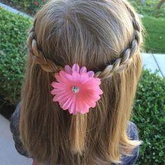 Top 100 cute girls hairstyles youtube photos Simple braided crown. Dressed up with a little flower. Take the front side sections of hair and braid straight back. (Don't braid down and then move to the back). . . . #braidstyles #braids #blondhair #shoulderlengthhair #halfuphair #simplegirlshairstyles #cutegirlshairstyles #easyhairstyle #quickhairstyle #bohemianhair #hairideas #hairinspiration