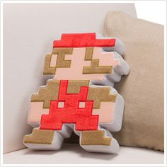 8-Bit Mario Pillow.  I love the sharp edges on this.  So many others would just be a square with the pic on it..