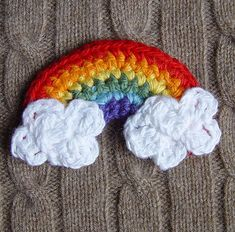 Crochet Rainbow with Clouds