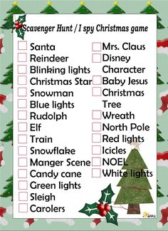 Get into the spirit of the holidays with this free printable scavenger list. I Spy Christmas game. Print it up and have fun with your family.