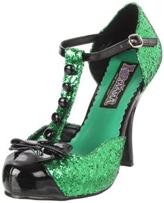 $48.79-$52.99 Funtasma by Pleaser Women's Festive T-Strap Pump,Green Glitter/Black Patent,9 M US - 4 1/2 Inches Heel, 3/4 Inches Hidden Platform T-Strap D'Orsay Pump http://www.amazon.com/dp/B004NNLWUW/?tag=icypnt-20