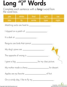 """These sentences are each missing a word, and each missing word has the long """"i"""" sound! Your child will choose words from the box to complete each sentence."""