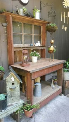 Potting bench my father in law built for me.  So blessed :)