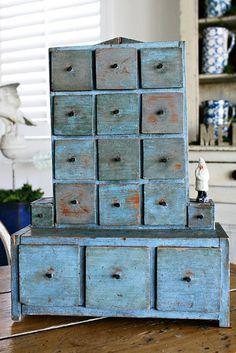 Super cute dresser drawer idea, Painted a cool blue color! Love it!