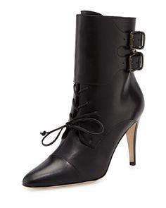 Manolo Blahnik Secunda Lace-Up Ankle Boot, Black *fans face*